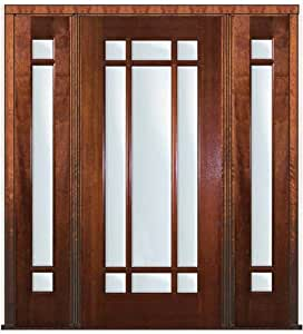 Pre Hung French Side Lights Door 80 Mahogany 9 Lite Marginal 6 2 Entry Doors