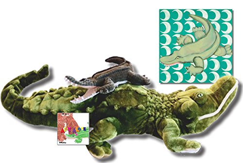 "Ally the Alligator - Ultimate Gift Set, Includes ""Ally Alone"" - Storybook & Beyond, Folkmanis Puppet, Melissa & Doug Plush and 18x18 Canvas"