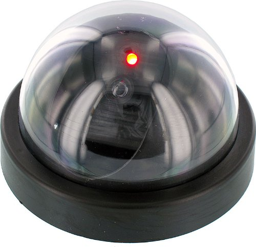 SE FC9955 Dummy Security Camera with Dome Shape and 1 Red Flashing Light