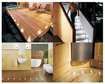 Set of 10 waterproof led white deck lights decking for Kitchen spotlights amazon