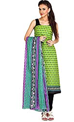 Parchayee Women's Cotton Dress Material (Printed_Green_Free Size)
