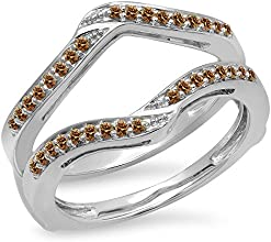 030 Carat ctw 14K Gold Round Champagne Diamond Ladies Wedding Band Enhancer Guard Double Ring 13 CT