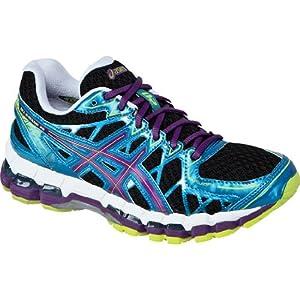 ASICS Women's Gel Kayano 20 Running Shoe,Black/Plum/Blue,7.5 M US