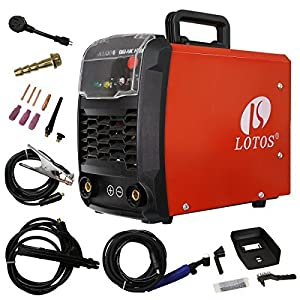LOTOS Technology TIG140 140 Amp IGBT Stick/Lift Start DC TIG welder, Dual Voltage, Auto Adaptive Hot Start, Red by Lotos Technology from Lotos Technology