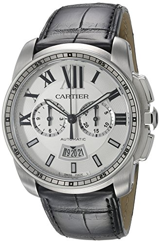 Cartier Men's 42mm Black Synthetic Leather Band Steel Case Automatic Silver-Tone Dial Watch W7100046