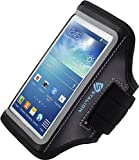 Galaxy S4 Armband : Stalion® Sports Running & Exercise Gym Sportband (Jet Black)[Lifetime Warranty] Water Resistant + Sweat Proof + Key Holder