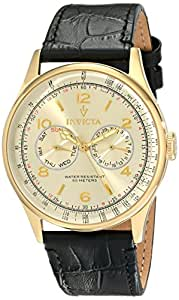 Invicta Men's 6750 Vintage Light Gold Tone Dial Black Leather Watch
