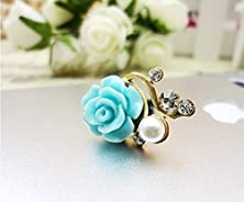 buy Karp Rose Flower Pattern 3D Crystal Bead Pearl Diamond 3.5Mm Cellphone Charm Anti Dust Plug For Ios & Android Compatible Devices (Cyan)