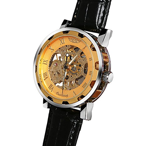 Men'S Black Faux Leather Gold Colored Dial Skeleton Mechanical Sport Wrist Watch