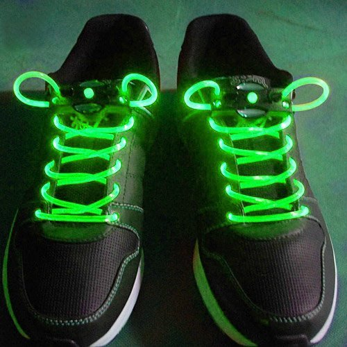 2.6Ft Classical Generation Waterproof Led Flashing Light Up Shoe Laces Lighting 1 Pair-(Green)