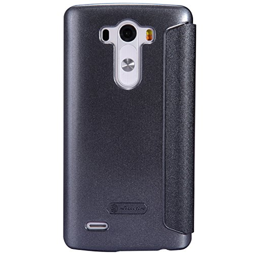 Nillkin Sparkle PU Leather Smart Wake/Sleep View Cover for LG G3 - Retail Packaging - Black