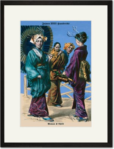 Black Framed/Matted Print 17x23, Japanese Women and Child, 19th Century