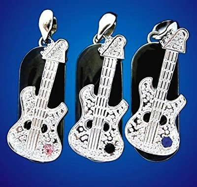Electric guitar necklace 4GB with pink stone - Memory stick/drive for XP/Vista/Windows 7/Mac from EASYWORLD