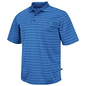 Detroit Lions Majestic FanFare IV Blue Clima Cool Striped Polo Shirt by VF