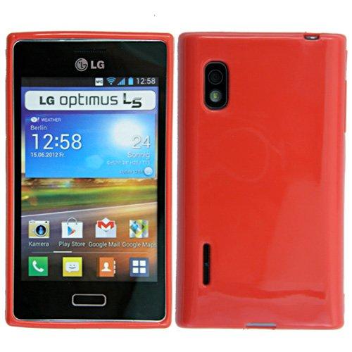 Original Phonecastle Schutzhülle Silikon Gel Case in Rot Silicon Tasche Hülle LG E610 Optimus L5 & 2 x Displayschutzfolie