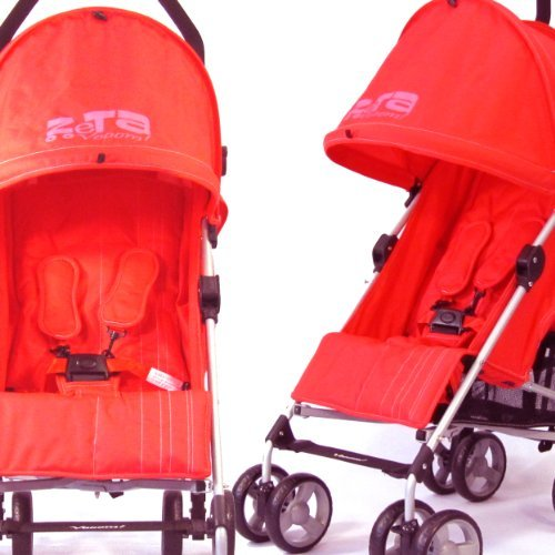 NEW BUGGY STROLLER PUSHCHAIR WITH LARGE SUN CANOPY HOOD - ZETA VOOOM - Warm Red with Rain Cover