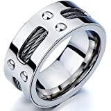 Herren-Ring- Band- Ehering- Trauring- Edelstahl- mit Stahl-Kabel und Schrauben