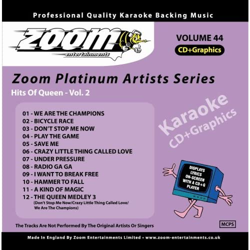 Zoom-Karaoke-CD-G-Platinum-Artists-44-Queen-2-Zoom-Karaoke-Audio-CD