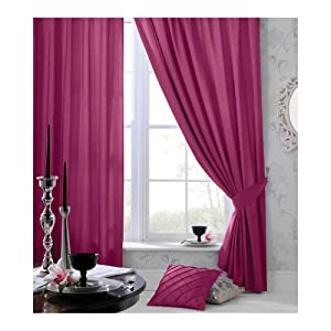 """Catherine Lansfield Faux Silk Plain Pencil Pleat Latte Curtains 46"""" x 54"""" by Catherine Lansfield"""