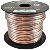 GLS Audio Premium 12 Gauge 50 Feet Speaker Wire - True 12AWG Speaker Cable 50ft Clear Jacket - High Quality 50