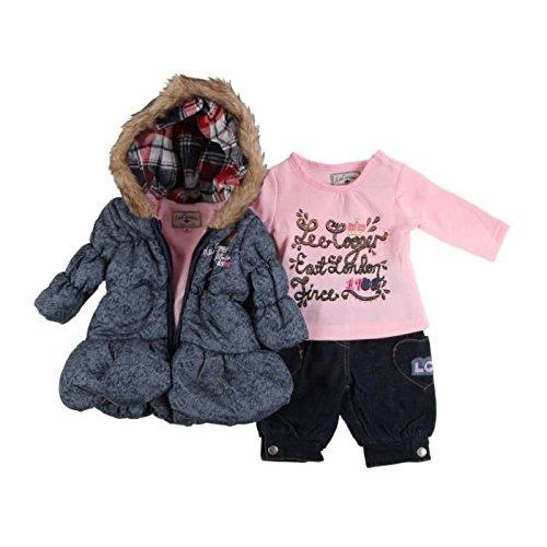 Lee cooper-Set di tre pezzi-parka interno in pile, sotto maglione e jean-Scarpine bambina, colore: blu blu 12 mesi
