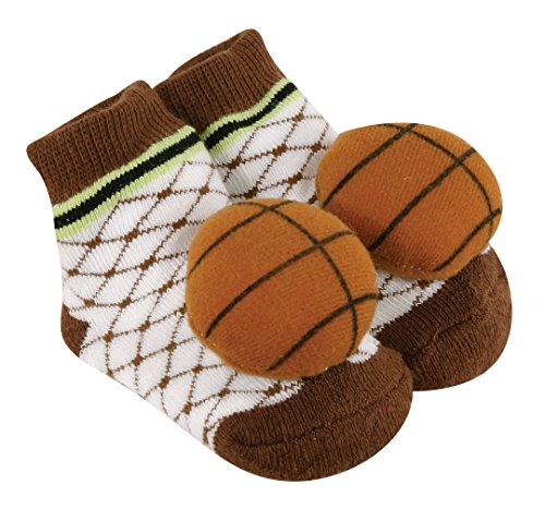 Stephan Baby Sports Fun Non-Skid Rattle Socks, Basketball, 6-12 Months