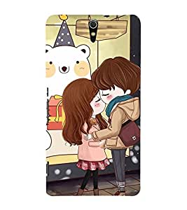 Fuson Premium Back Case Cover Cute lovers With White Background Degined For Sony Xperia C5 Ultra Dual::Sony Xperia C5 E5553 E5506::Sony Xperia C5 Ultra