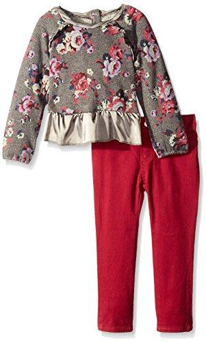 Lucky Brand Little Girls' Erica Sweat Set, Medium Heather Gray, 6