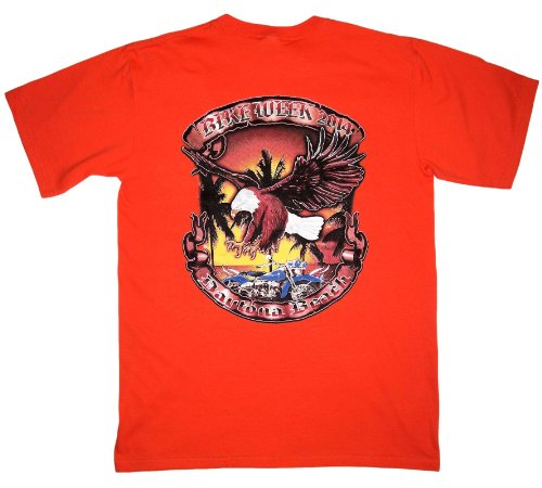 Leather Supreme Men's Daytona Beach Bike Week 2014 Biker T-shirt -Orange-Xl