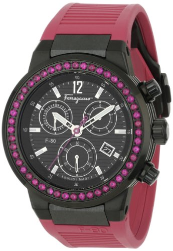 Ferragamo Women's F55LCQ68R09 SR22 F-80 Chronograph Pink Rubies Black IP Watch
