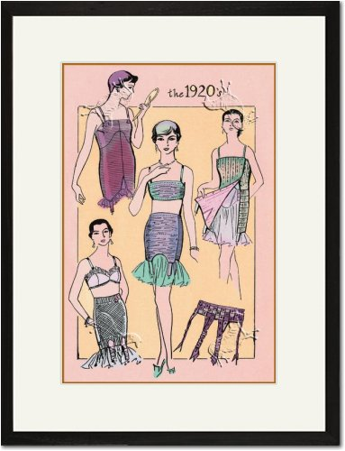 Black Framed/Matted Print 17x23, The Flapper's Girdle
