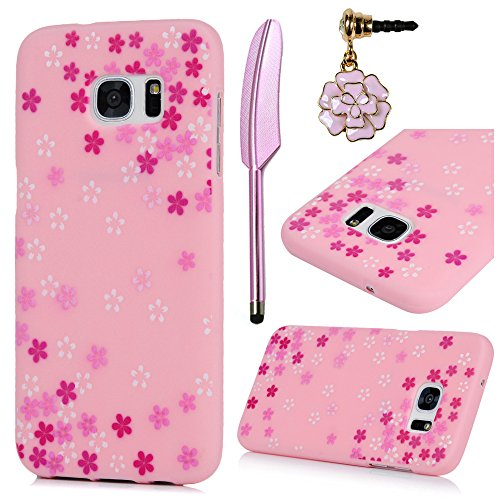 S7 Edge Case,Galaxy S7 Edge Case,MOLLYCOOCLE Color Painted Flowers Soft Silicone TPU Rubber Gel Bumper Anti-Scratch Ultra Slim Thin Shockproof Full Protective Cover for Samsung Galaxy S7 Edge,Pink