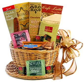 Wine.com Cup of Coffee & Tea, Cup & Saucer Gift Basket