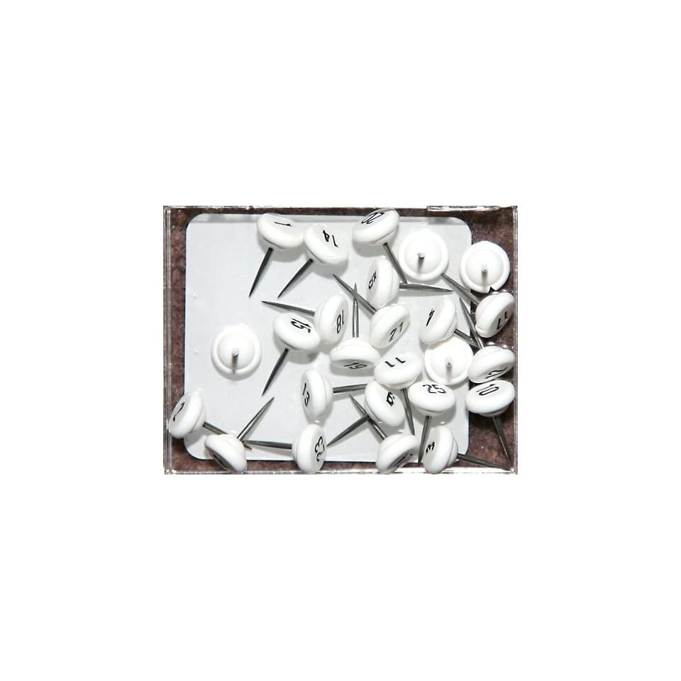 Numbered Map Tacks   White Numbers (box of 25 numbers 1   25)