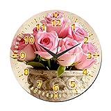 MeSleep Pink Rose Wall Clock With Glass Top