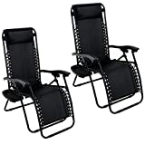 GHP Set of 2 Outdoor Beach Patio 300LBS Capacity Black Zero Gravity Lounge Recliner Chairs