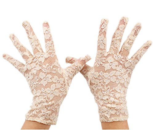 VIVIANSBRIDAL Women's 2016 Short Elegant Lace Wedding Gloves, Champagne