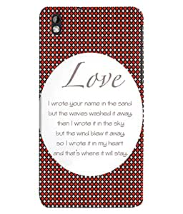 Fuson 3D Printed Love Designer back case cover for HTC Desire 816 - D4562