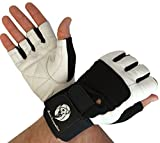 Gym Gloves with Wrist Support for Gym Workout, Crossfit,Weightlifting Black/White. Premium Quality Materials. (Black/White, Large)