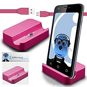 iTALKonline LG G3 S (G3 Mini) Pink Micro USB Sync & Charge / Charging Desktop Dock Stand Charger with 1.2 meter High Quality FLAT USB to MicroUSB Sync and Charge Cable