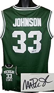 Magic Johnson signed Michigan State Spartans Green Authentic Headmaster Legends...