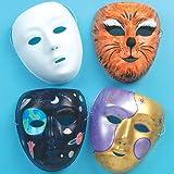 Lot de 6 Masques en Plastique Blanc à personnaliser - Idéal pour le Carnaval...