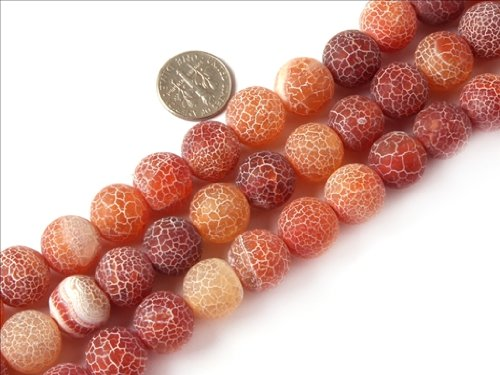 Sweet & Happy Girl'S Store 14Mm Round Frost Gemstone Red Agate Beads Strands 15