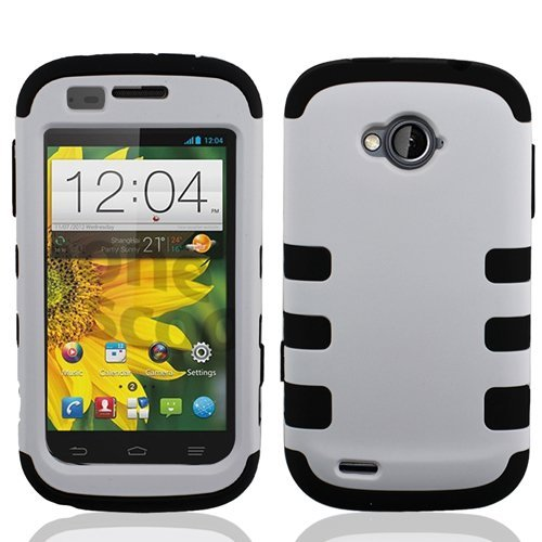 ZTE Emblem Case (Virgin Mobile), LF Hybrid Dual Layer Ribcase, Syulus Pen, Screen Protector & Wiper Bundle (Ribcase White) (Zte Emblem Phone Virgin Mobile compare prices)