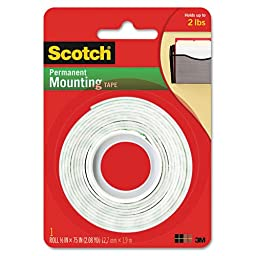 Scotch Permanent Mounting Tape, .5 x 75-inch