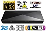NEW 2014 SONY BDP-S5200 2D/3D Wi-Fi Multi Region Zone Free Blu Ray DVD Player - PAL/NTSC - Worldwide Voltage 100~240V - 1 USB, 1 HDMI, 1 COAX, 1 ETHERNET Connections + 6 Feet HDMI Cable Included.