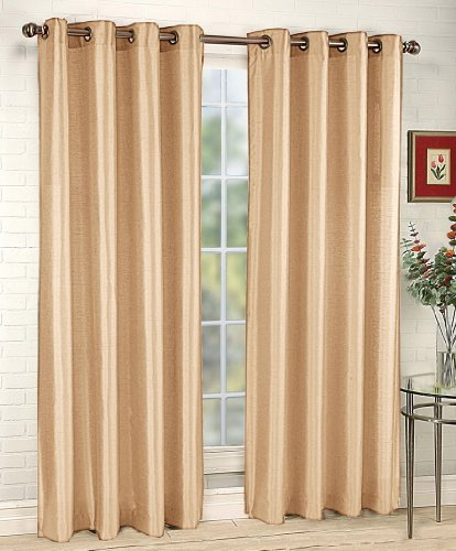 Amazon.com - Stylemaster Tribeca 56 by 84-Inch Faux Silk Grommet Panel, Sand