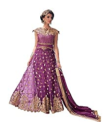 Purple Colored Hevy Embroidered Anarkali Suit