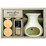 Iris Stoneware Fragrance Vapourizer Diya Sandal & Tealights