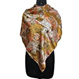 IBA Animal Print Satin Blend Scarf Women Wear Shoulder Brown Scarves Head Wrap SIZE - 40